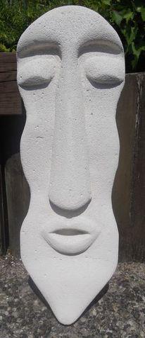 Beton, Wand, Maske, Plastik