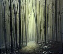 Wald, Licht, Baum, Malerei