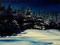 Malerei, Fichte, Schnee