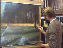 Wald, Winter, Sonnenlicht, Ölmalerei