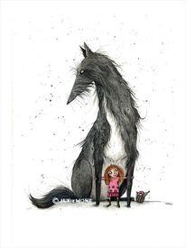 Großer hund, Mädchen, Großer wolf, Freunde