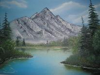 Berge, Landschaft, Ölmalerei, Malerei