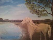 Landschaft, Ölmalerei, Tiere, Pferde
