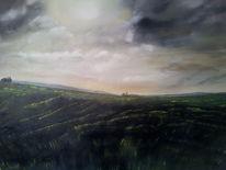 Landschaft, 2012, Ölmalerei, Wind