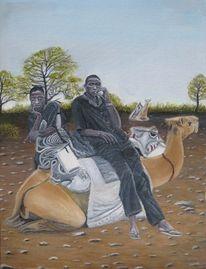 Kamel, Mann, Afrika, Malerei