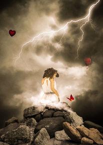 Frau, Landschaft, Wolken, Nacht