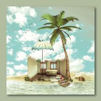 Wasser, Südsee, Himmel, Palmen