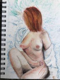 Rothaarig, Pastellmalerei, Frau, Akt