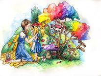 Gelbr steinweg, Illustration, Farben, Zuspät