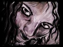 Frau, Acrylmalerei, Schwarz weiß, Malerei