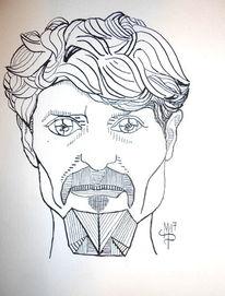 Selbstportrait, Ernsthaft, Linie, Zeichnungen