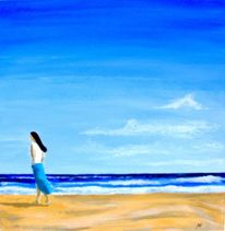 Strand, Welle, Himmel, Frau