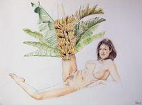 Zeichnung, Bananenstaude, Akt, Farben