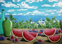 Früchte, Ozean, Wolken, Gefäß