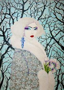 Blumen, Frau, Winter, Frühling