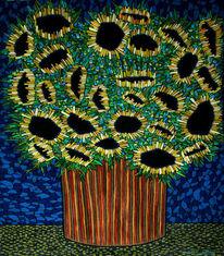 Pflanzen, Strauß, Vase, Sonnenblumen