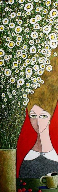 Blumen, Kirsche, Vase, Frau
