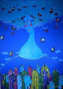 Stadt, Blau, Menschen, Frau