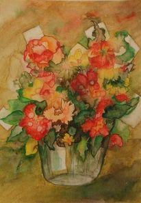 Blumen, Brief, Vase, Aquarell