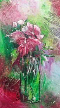 Grün, Rot, Blumen, Vase