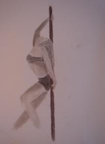 Kohlezeichnung, Pole dance, Akt, Stange
