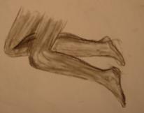 Kohlezeichnung, Bein, Zeichnungen