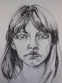 Frau, Menschen, Portrait, Zeichnung