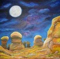Wüste, Schimmer, Nacht, Mondschein
