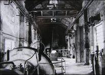 Maschinenhalle, Schwarzweiß, Architektur, Hochofen