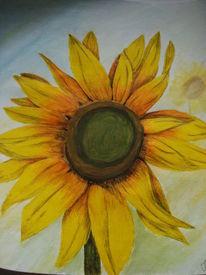 Sonnenblumen, Blumen, Aquarell, Sonne