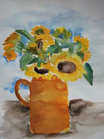 Blumen, Sonnenblumen vase, Aquarell, Sonnenblumen