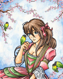 Kirschblüten, Lovebirds, Agapornis, Vogel