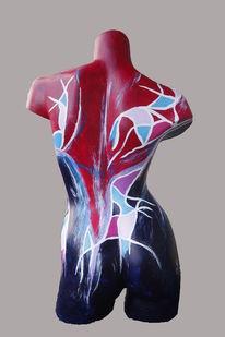 Abstrakt, Acrylmalerei, Figur, Torso