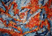 Acrylmalerei, Feuer, Abstrakt, Eis