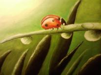 Marienkäfer, Pflanzen, Tropfen, Malerei