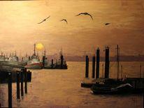 Malerei, Ölmalerei, Hafen hamburg,