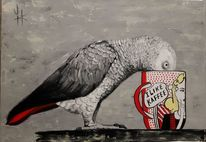 Papagei, Tiere, Malerei, Ölmalerei