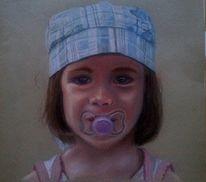 Mädchen, Portrait, Kreide, Pastellmalerei