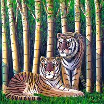 Malerei, Bambus, Tiger
