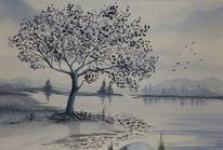 Aquarellmalerei, Baum, Grau, Natur