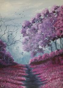 Landschaft, Violett, Wald, Malerei