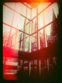 Reflexion, Bahnhof, Dom, Monochrom