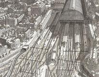 Zeichnung, London, Bahnhof, Bahn