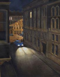 Straße, Dunkel, Schwarz, Nacht