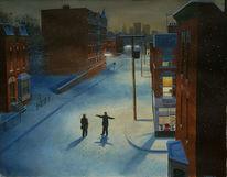 Schnee, Malerei, Realismus, Stadtlandschaft