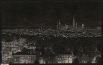 Nacht, Figurativ, Realismus, Schwarz