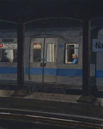 Zug, Gemälde, Schwarz, Blau