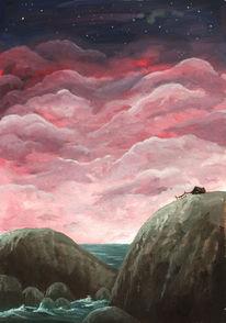 Hütte, Wolken, Nacht, Fischer