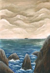 Felsen, Ölmalerei, Sturm, Insel