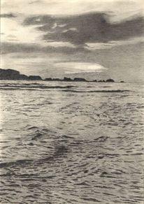 Welle, Zeichnung, Meer, Himmel